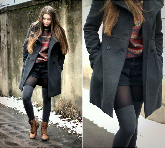 Alicja A - Zara Grey Coat, Vintage Sweater, Wojas Brown Boots - Our time with.../