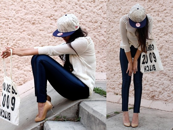 Jennifer Aranda - New Era Cap, Zara Knit, American Apparel Disco Pants, Prada Nude Heels - It's a New Era