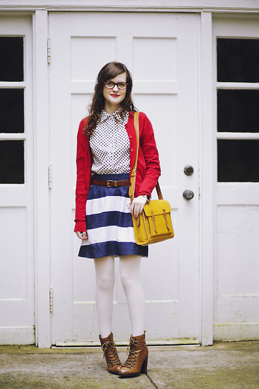 Ashlyn K - Tommy Hilfiger Patterned Shirt, Tommy Hilfiger Striped Skirt, Madewell The Essex Satchel, Modcloth Lace Up Booties - Mixed Prints