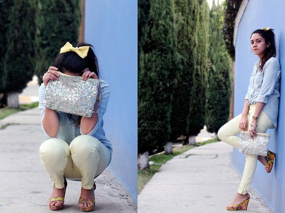 Jennifer Aranda - American Apparel Bow, Zara Sequined Clutch, Bershka Denim Shirt, Zara Pastel Yellow Jeans, H&M Neon - For lovers