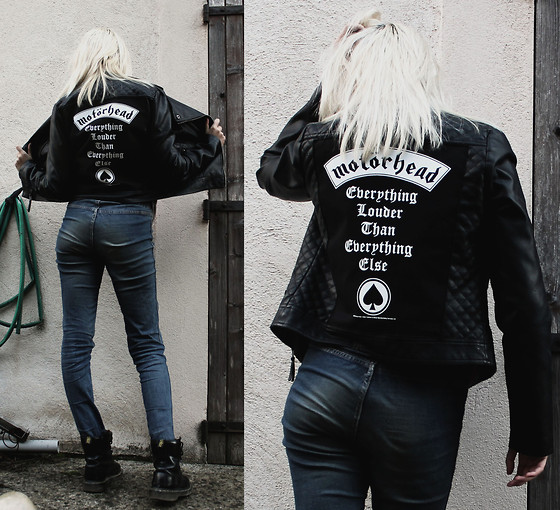 Anne-Cécile Van Doren - Diy Leather Perfecto, Dr. Martens Black Dr, Motorhead Back Patch - Everything Louder Than Everything Else ♠