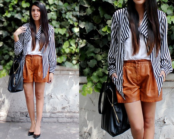 Jennifer Aranda - Vintage Striped Blouse, Zara Leather Shorts, Zara Leather Handbag, Michael Kors Heels - Mind leather and stripes
