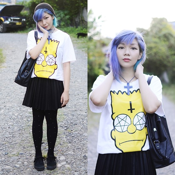 Marion Uy - Sheinside Simpson Cross Tshirt, Forever 21 Black Pleated Leather Skirt, Blue Hair, Vans All Black - NOT Bart Simpson
