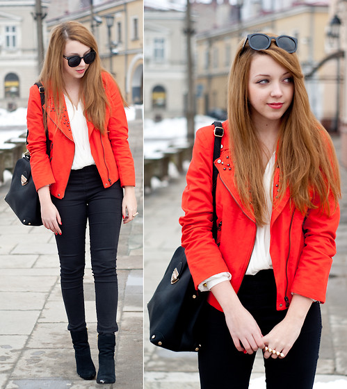 Gabriela Grębska - Sheinside Jacket, Born86' Sunnies, Etorba Bag, Let Them Stare Blouse, H&M Pants, H&M Shoes - Red jacket