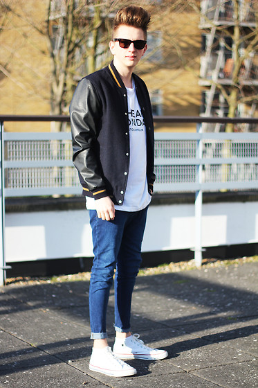Rolandas Lušinskis - River Island Bomber Jacket, Cheap Monday Tee, Lee Jeans, Converse Sneakers - CHEAP MONDAY