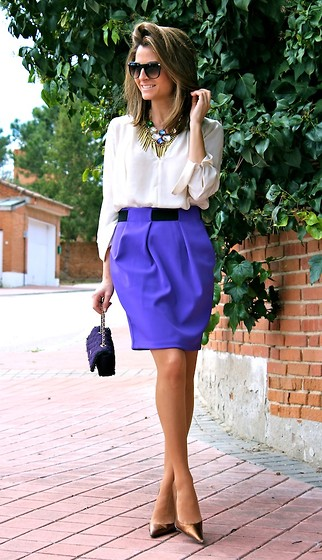 Silvia Garcia Blanco - Mango Sunglasses, Suite 210 Necklace, Zara Blouse, H&M Skirt, Purificacion García Bag, Calzados Gredos Shoes - One look, different uses / Un look, diferentes usos