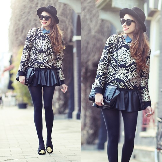 Virgit Canaz - Chic Wish Baroque Sweater, Vero Moda Denim Blouse, Romwe Leather Skirt - BAROQUE