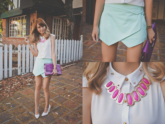Tricia Gosingtian - Apartment 8 Top, Apartment 8 Skort, Choies Wedges, Young And Sweet Necklace, Young And Sweet Bag - 040713