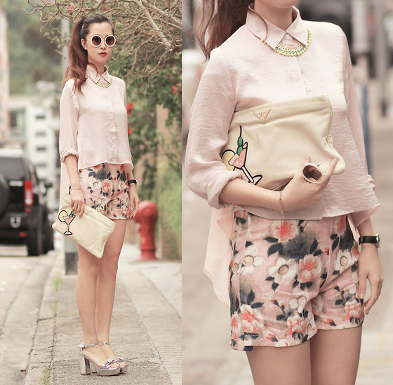 Mayo Wo - Style Societal Pastel Necklace, Romwe Round Sunnies, Romwe Barely Pink Shirt, Prada Cocktail Clutch, Romwe Floral Shorts, Miu Embellished Sandals - How very 60's
