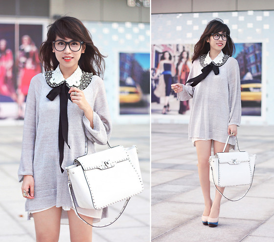 Linda Tran N - H&M Metallic Knit, Studded Bag - Silver linings