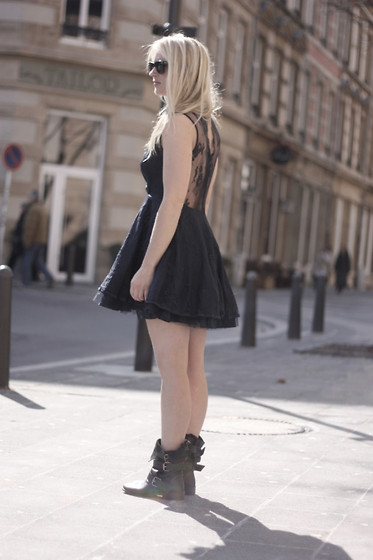 EMILIE HIGLE - Armani Exchange Dress, Maje Boots - LACE AND TULLE