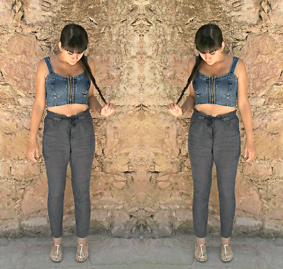 Diana Herrera - Denim Top Crop, Zara Blue Pants - Trip for me