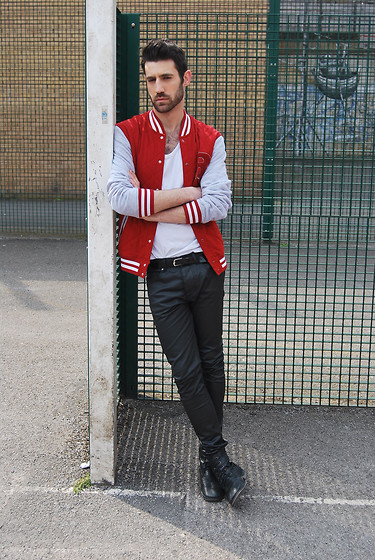 Adrian Cano - Sport Jacket, White Tanktop, Leather Belt, Leather Skinny Trousers, Military Boots - Neighbourhood Basketball