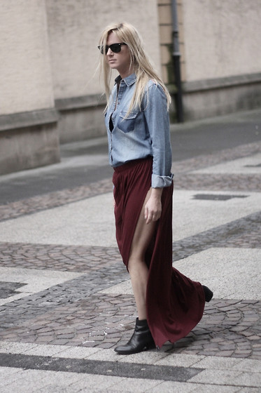 EMILIE HIGLE - Zara Denim Shirt, One Teaspoon Maxi Skirt, Maje Boots - DENIM AND BURGUNDY