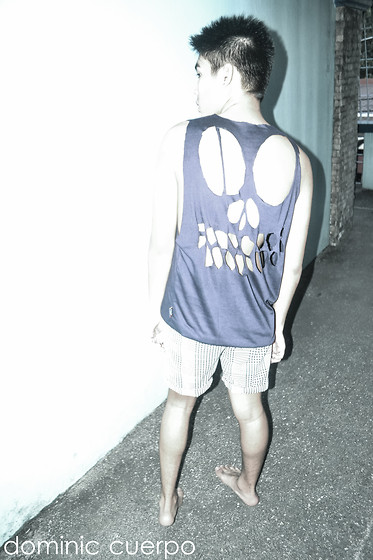 Dominic Cuerpo - Diy Skull Cut Out Shirt., Bench Checkered Shorts - I don't like wearing shoes, what's your problem?