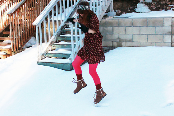 Jamie Shields - American Rag Dress, Ugg Shoes, Free People Socks - Oh, Hello Snow