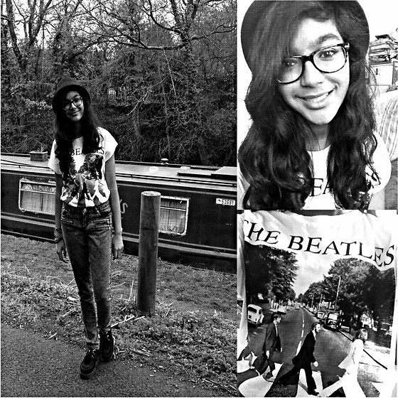 Tanisha C - The Beatles Graphic Tee, Topshop Bowler Hat, Grey Textured Jeans, Creepers - The Beatles!