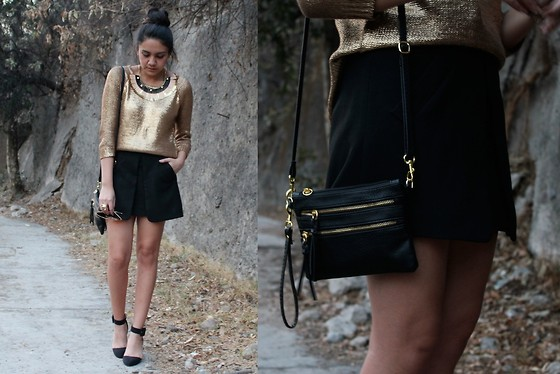 Jennifer Aranda - Zara Golden Knit, Ethnology Necklace, Zara Black Skirt, Za Heels, Vintage Handbag - Golden