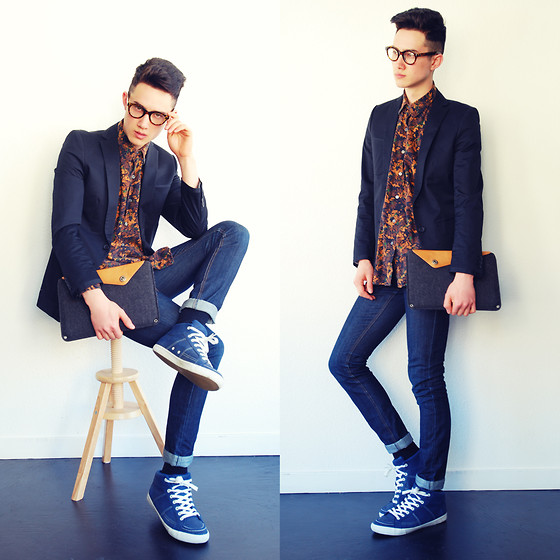 Nigel Lew - Zara Blazer, Vintage Shirt, Cheap Monday Jeans, Feiyue Sneakers, Mujjo Laptop Clutch - Fading Seasons
