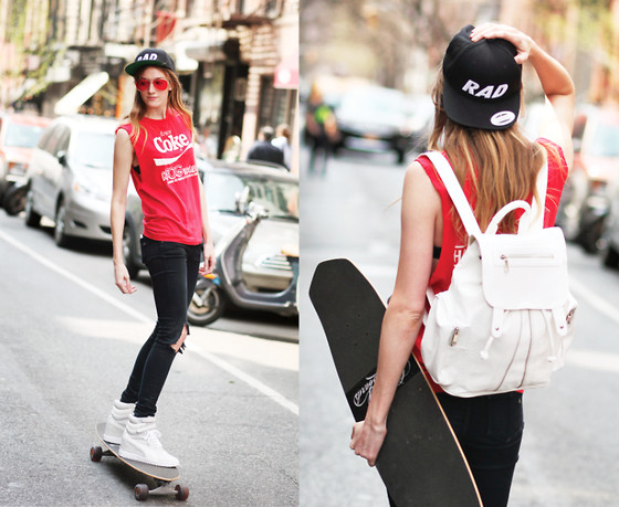 Leslie K - Puma Shoes, Rag & Bone Black Jeans, The Warpaint Agency Rad Hat, Topshop White Snakeskin Pattern Backpack, Vintage Coca Cola Tee - Rad Kid Contest