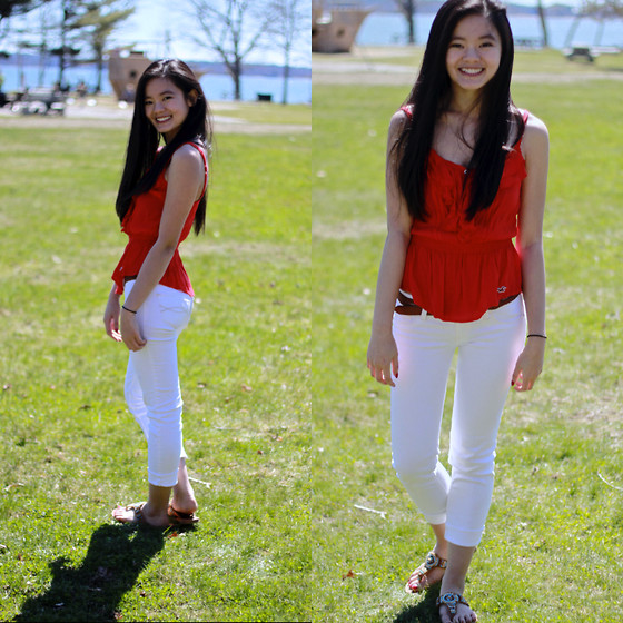 Zoe B. - Hollister Top, Abercrombie Jeans, Marshalls Sandals, H&M Belt - Fun in the Sun