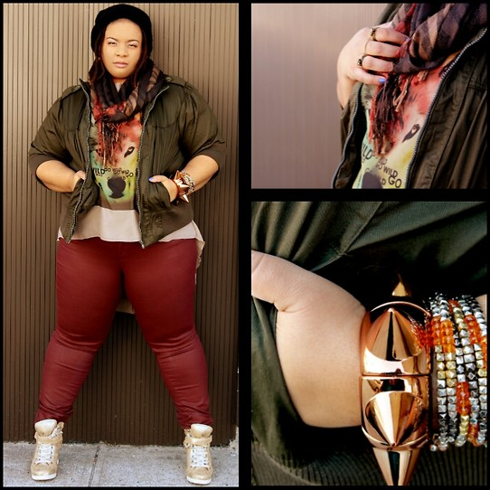 Jamila Pierre - Forever 21 Ox Blood Wax Coated Pants, Rainbow Go Wild High Low Top, Target Gold Sneaker Wedges - Go Wild!
