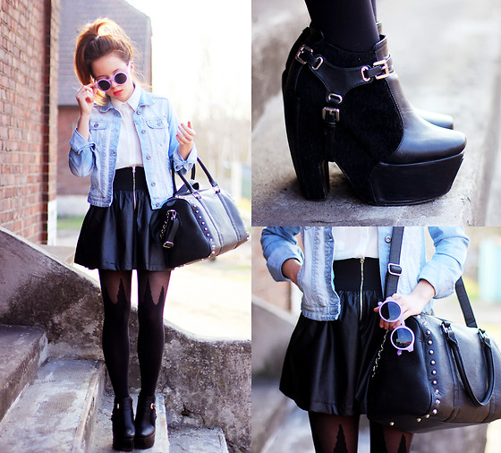 Wioletta Mary Kate - Zara Skirt, Cropp Jacket, Cropp Bag, Prettify Tights, Modekungen Shoes - Casual #2