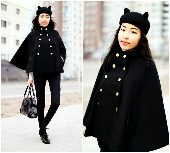 Aibina Yeshkeyeva - Choies Hat, Stradivarius Coat, Forever 21 Sweater, H&M Boots - Devil Ears