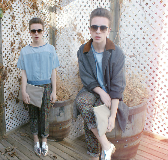 Paul Conrad Schneider - Zara Denim Shirt, American Apparel Leather Pouch, American Apparel Victorian Wall Poly Pleated Pants, Solestruck Metallic Shoes, California Select Sunglasses, American Apparel Petite Wool Coat - Young.
