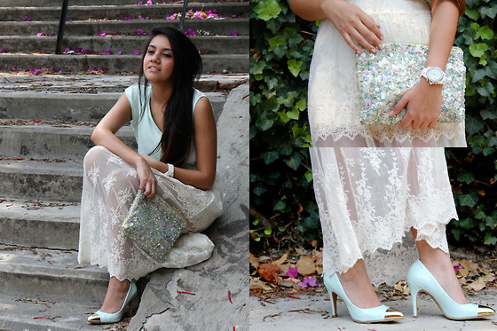 Jennifer Aranda - Zara Sequined Clutch, Perugia Metal Point Heels, Zara Lace Skirt, Chanel White Watch - Pastel laserquest