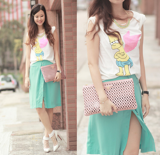 Mayo Wo - Style Societal Pastel Gemstones Necklace, Sheinside Bart Simpson Tee, Prada Cut Out Clutch, Laurustinus Turquoise Chiffon Skirt, Beckybwardrobe Sheer Socks - Angelic bart