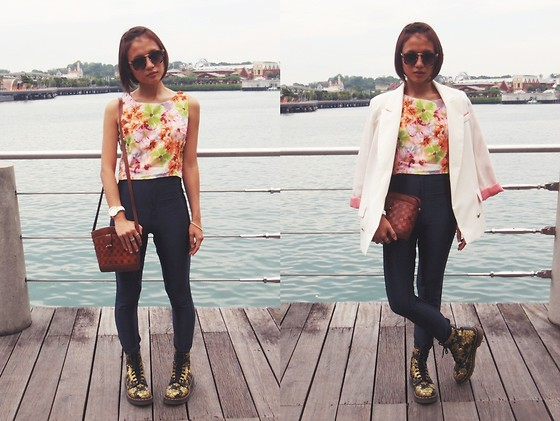 Rachel Eng - O Mighty Weekend Tailored Floral Tank, Dr. Martens Gold Flocked Floral Boots - Florals for Spring?