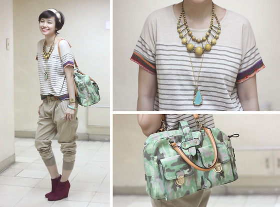 Bea Benedicto - Parfois Camo Bag, Zara Pants, Lust Clothing Top, Moonstone Designs Necklace - Artsy Fartsy