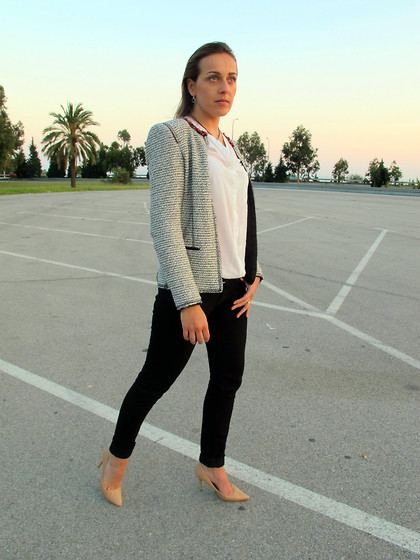 Sofia Vagueiro - Zara Tweed Jacket, Levi's® Skinny Black Jeans, Mango Nude Stilettos - Stop Right There!