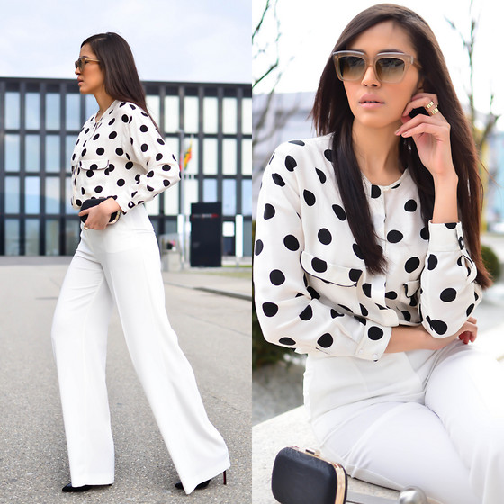 Patricia Do Nascimento - Mango Pants, Zara Shirt, Christian Louboutin Stilettos, Céline Sunglasses - POLKA DOTS AND FLARE