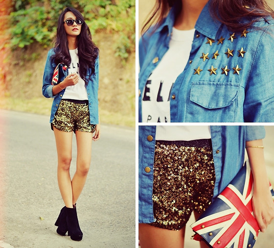 Kristine G - Bangood Studded Denim Shirt, Céline Celine Paris Shirt, Choies Sequined Shorts - STAR-STUDDED