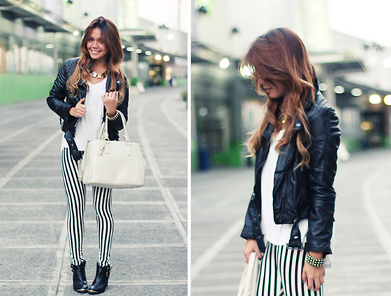 Cheyser Pedregosa - Banggood Pin Stripe Leggings, H&M Leather Jacket, Call It Spring Boots, Sm Accessories Necklace, Charles & Keith Bag - Pins and Stripes