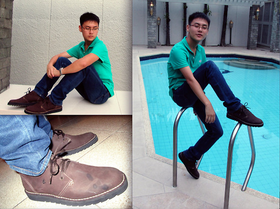 Aloy Chua - Lacoste Green Polo Shirt, Uniqlo Dark Blue Denims, Swatch Seasider Desert Boots - Just give me a reason.