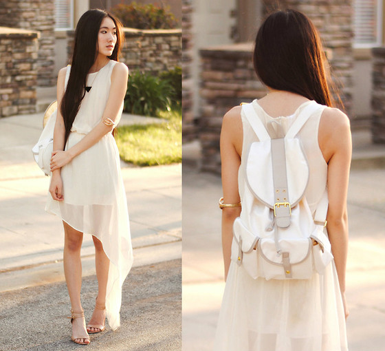Jennifer Wang - Merrin & Gussy Triangle Pendant, Merrin & Gussy Claw Bangle, Oasap Chiffon Asymmetrical Dress, Yeswalker White Faux Leather Backpack, Nine West Nude Ankle Strap Pumps - OXYGEN (Merrin & Gussy: Look 2)