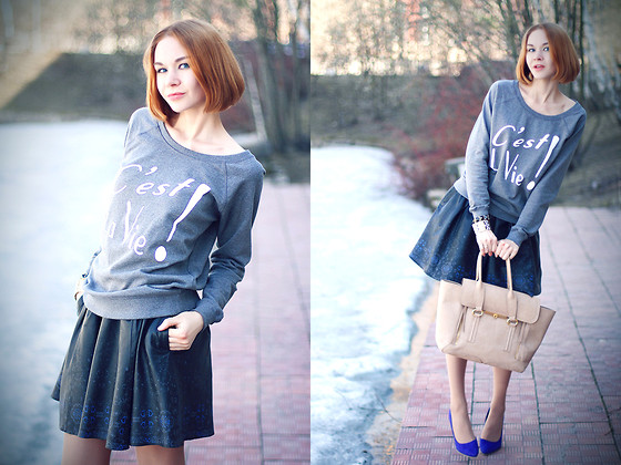 Lidia ♫♪♫ - Crow Wear Sweater, Asos Leather Skirt, Nowistyle Bag - Je suis music