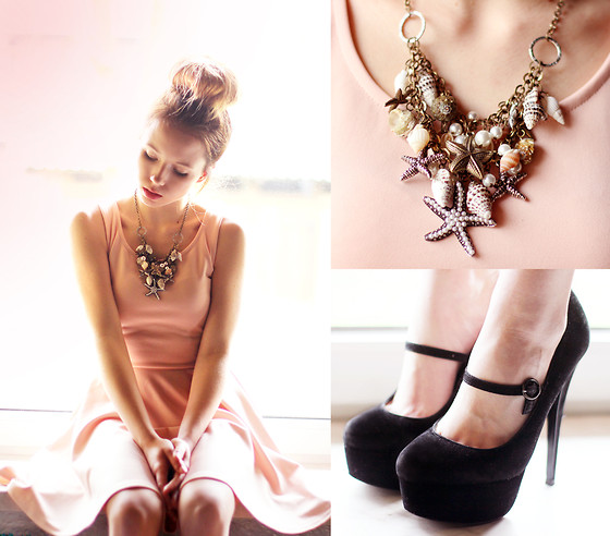Wioletta Mary Kate - Iclothing Dress, Chic Wish Necklace - Peachy Dress