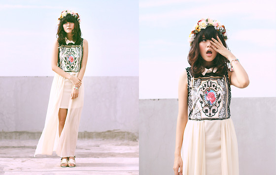 Sonia Eryka - House Of Corsage Flower Crown, Sheinside Chiffon Dress, Thrift Vintage Sandals - BOY TOY