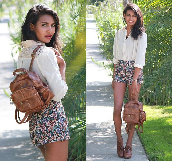 Tiffany Borland - Forward To All Floral Shorts, Persun Leather Backpack, Persun Crochet Shoulder Top - Forward to all