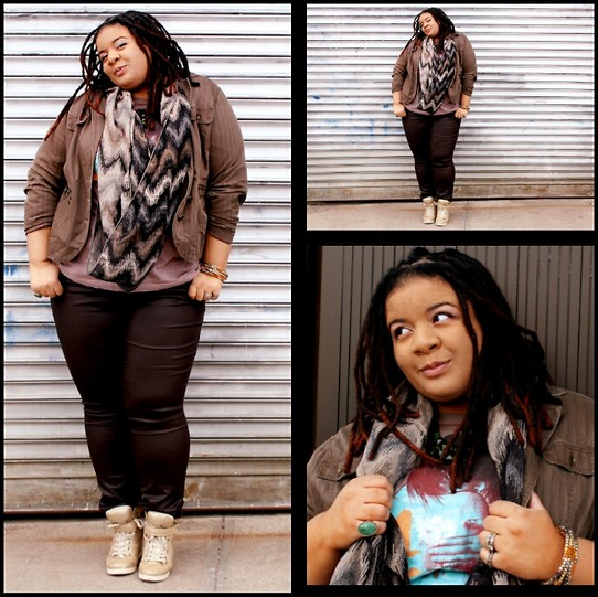 Jamila Pierre - Forever 21 Brown Wax Coated Pants, Target Gold Sneaker Wedges, Taupe Blazer, Burlington Coat Factory Chevron Glitter Scarf, Threadless T Shirt, Jamila My Awesomeness - Put It On Wax.