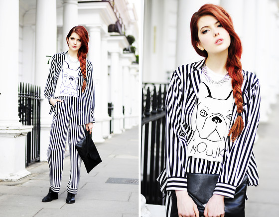 Ebba Zingmark - Choies Striped Suit, Merrin & Gussy Necklace, Romwe Top, Marc O'polo Boots, Primark Clutch - MOUJK