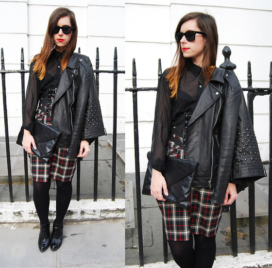 Naomi Rowland - Primark Sunglasses, Topshop Leather Studded Jacket, Topshop Corset Belt, Primark Tartan Skirt, H&M Shirt - Check Yourself