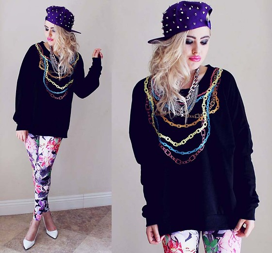Bebe Zeva - Yes Style Chain Print Sweatshirt, Yes Style Spiked Snapback, Romwe Floral Panther Print Leggings, Qupid Patent White Pumps - FLORAL PANTHER