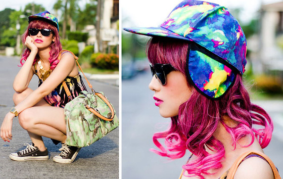 Bea Benedicto - Enchanted Kingdom Tie Dye Cap With Ear Flaps, Parfois Camo Bag, Landmark Tie Dye Tank - Tie Dye