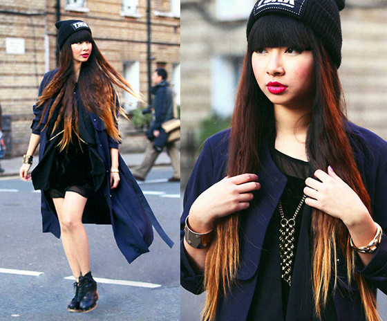 Van Anh L. - Tskr Beanie, H&M Trenchcoat, Velvet Dress, Gina Tricot Cross Body Chain, Pimkie Shoes - Moving forward