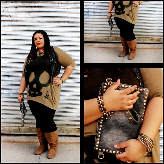 Jamila Pierre - Mandee Studed Denim Clutch, Yesstyle Skull Dress, Forever 21 Tan Tall Boots, Forever 21 Distressed Vest - Skulls, Stars, And Clutches.